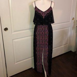 Express bohemian style black paisley maxi dress S